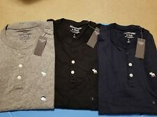 NWT Abercrombie & Fitch Moose Long Sleeve Henley Tee M or L 4 Colors