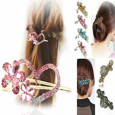 AL New Retro Crystal Rhinestone Butterfly Flower Hairpin Hair Clip Hair Stick