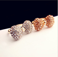 Micro-inlay 1.5 Cts Cubic Zirconia *Bow* 14k Gold GP Adjustable Party Ring