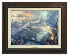 Tinker Bell Peter Pan Fly Neverland Thomas Kinkade 12x16 Disney Framed Espresso