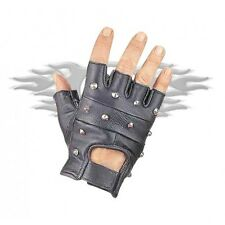 NEW FINGERLESS STUDDED MOTORCYCLE CRUISER PREMIUM LEATHER GLOVES