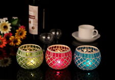 3 Colors Glass Mosaic Votive Tealight Candle Holders Dinner Wedding Home Decor