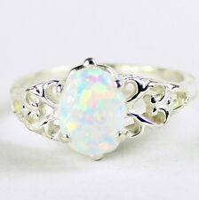 Created White Opal, 925 Sterling Silver Ring, SR302-Handmade
