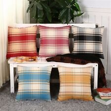 2PCS Linen Retro Cushion Cover 18 X18 Throw pillow covers Decorative Checks