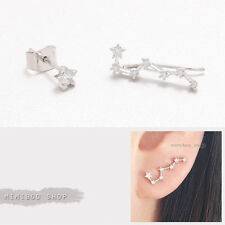 Cubic Zirconia Prong Set Big Dipper Ear Crawler with Star Stud Earring-1pair