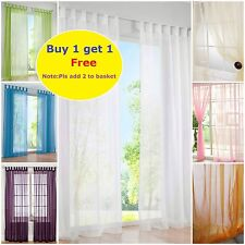 PAIR (2 panels) Plain Tab Top Woven Sheer Net Voile Curtains Window Room Divider
