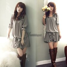 Women New Fashion Sleeves Demitoilet Chiffon Ruffle Bowknot Mini Dress Hot WT88
