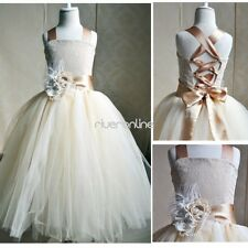 Flower Girls Dress Princess Pageant Wedding Party Formal Birthday Lace Ball Gown