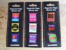 Set of 3 Mini Magnetic Page Markers Bookmarks For Books-  Book Lovers Gifts