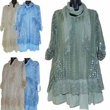 WOMENS ITALIAN LAGENLOOK NET MESH LAYERED 2 PIECE TOP TUNIC DRESS UK Sz 12 14 16