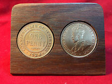 1924 Birthday Gift Present Jarrah Plaque w/ 1924 original penny -other years av