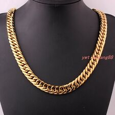 9mm-21mm Fashion Gold Tone Stainless Steel Mens Curb Chain Necklace or Bracelet