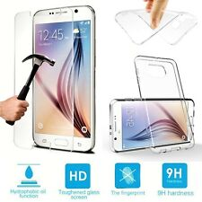 CLEAR GEL CASE & TEMPERED GLASS SCREEN PROTECTOR FOR SAMSUNG GALAXY S5 SM-G900F