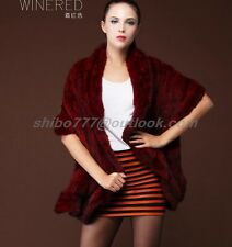 New!! 100% Real Genuine Knitted Mink Fur Jacket Coat Outwear Sweater Fashion -