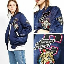 Applique Padded Varsity Jacket Womens Patch Embroidered Baseball Puffer Coat SML