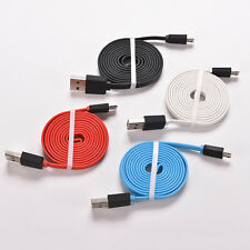 3-10Ft Flat Noodle Micro USB Charger Sync Data Cable Cord fr Android Phone FF