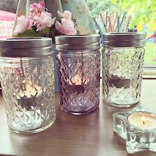 Shabby Chic Etched Cut Glass Style Tealight Candle Holder