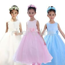 Girl Kids Communion Bridesmaid Wedding Flower Pageant Party Gown Tulle Dresses