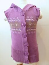 MEXX Toddler Girls's Lilac Purple Button Front SS Sweater Vest W Hood Sz 3-4
