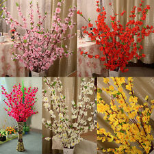 Artificial Cherry Spring Plum Peach Blossom Branch Silk Flower Tree Decor