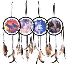 Pop Handmade Dream Catcher With Feathers Wall Hanging Decoration Ornament-Wolf