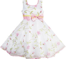 Girls Dress Flower Leaves Wedding White Pageant Bridesmaid Clothes Size 4-12