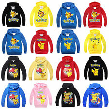 Kids Boys Girls Pokemon Pikachu Hoodie Sweatshirt Hooded Jumper Tops T-shirt New