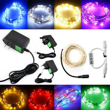 2/5/10m LED Mini Silver Wire String Fairy Party Wedding Light Controller+Adapter