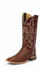 Justin Mens Cognac Full Quill Ostrich Western Boots AQHA Remuda Red