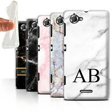 Personalised Marble Gel/TPU Case for Sony Xperia L/C2105/Name/Initial DIY Cover