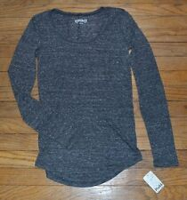 Mudd Scoopneck Long Sleeve Shirt Juniors Top Lightweight Comfy Dark Gray