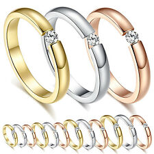 Fgy Simple Titanium Steel Ring Crystal Rhinestone Women Fashion Wedding Ring New