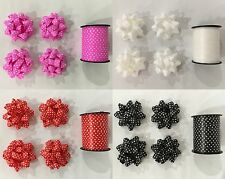 New 4x 4 Bows w 10m Ribbon Birthday Gift Wrapping Bow Gift Wrapping 4 Colours