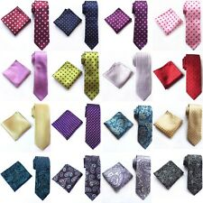 Mens ties Silk & Pocket Square Handkerchief SET Italy Paisley Wedding Tie Set