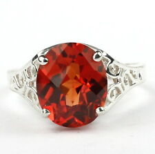 Created Padparadsha Sapphire, 925 Sterling Silver Ladies Ring, SR057-Handmade