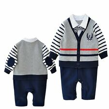 Baby Boy Wedding Christening Tuxedo Party Formal Jacket Suit Romper Outfit Cloth