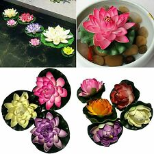4x Artificl Water Lily Floating Flower Garden Pool Pond Tank Plant Ornament