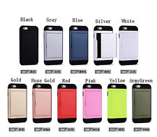 Newest! Shockproof Hybrid Hard Phone Back Cover Case Credit Card Slot Covers