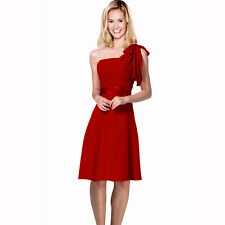 Sexy Overlay One Shoulder Knee Length Cocktail Bridesmaid Party Dress Scarlet