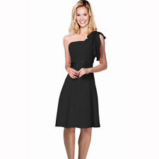 Sexy Overlay One Shoulder Knee Length Cocktail Bridesmaid Party Dress Black