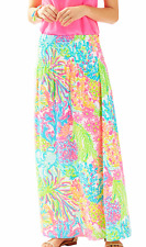 ONLY ONE-LILLY PULITZER BOHDI MAXI SKIRT Seaspray Blue Lovers Coral XS