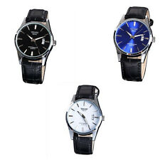 Leather Band Waterproof Fashion Calendar Men's Round Dial Wrist Watches Luxury