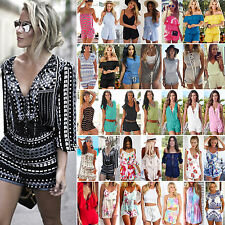 Boho Womens Ladies Shorts Jumpsuit Casual Summer Beach Dress Romper Playsuit Top