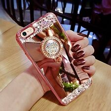 Luxury Crystal Mirror Bling Diamond Glitter Ring Stand Makeup Bumper Case Cover