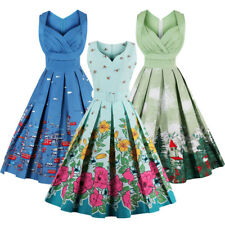 1950s 60s Retro Vintage Pinup Swing Dress Floral Cocktail Party Evening Dresses