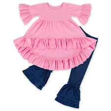 Baby Girl Kid Top Pants Set 2PCS Clothes Toddler Ruffle Shirt Dress Trousers New