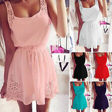 Womens Sleeveless Skater Dress Summer Casual Party Beach Mini Dress Sundress New