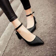 Womens Mary Janes Block Heel Pointed Toe Ankle Strap buckle Pumps formal Shoes