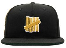 Undefeated brand UNDFTD Black Gold Hat 5 Strike Fitted Cap New Era 59fifty *NWT*