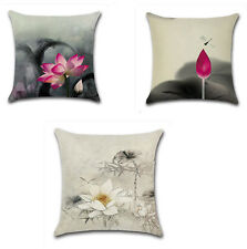 Vintage Chinese Oriental Lotus Linen Decorative Pillow Case Cushion Cover 18''